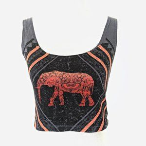 Out From Under Grey Elephant Print Crop Tank Top